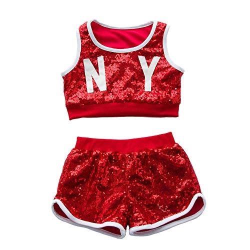 Kids Girls Hip-hop Jazz Performance Costumes Dancing Clothes Sequin School Halloween Set (5-6Years, Red Set)