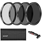 Neewer 58MM Filtro Densidad Neutra ND2 ND4 ND8 ND16 y Kit Accesorio para Canon EOS Rebel T6i T5i T4i SL1,750D 760D 650D 600D 550D 500D 450D 7D 60D DSLR,Pluma Lente,Bolsa Filtro