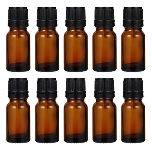 FRCOLOR 24Pcs Essential Oil Bottles Refillable Amber Glass Bottles Travel Container Small Makeup Aromatherapy Sub Bottles 10ML