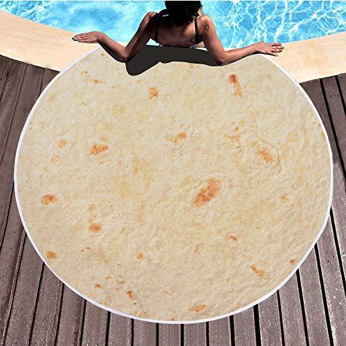 Toalla de playa redonda con borla, bufanda, alfombra redonda, mantel de playa, playa, vacaciones, viajes, picnic, viaje, yoga, patrón circular de 150 cm de diámetro