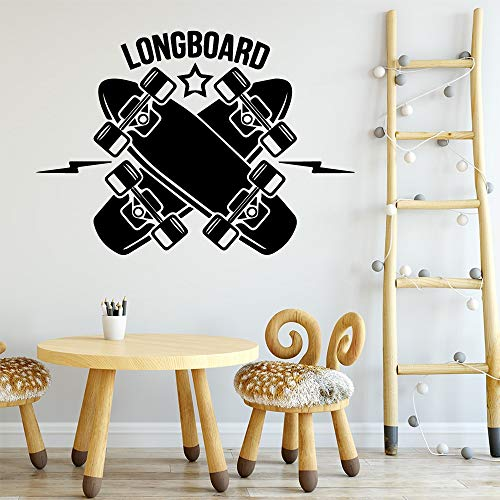 yaonuli Skateboard Longboard Wandaufkleber abnehmbare Kinderzimmer dekorative Wandtattoo36X50cm