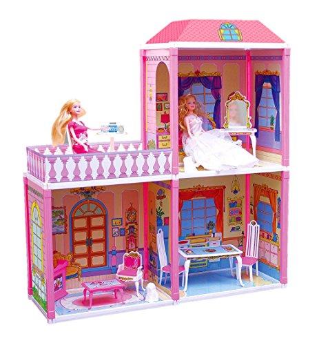 MULTISTORE Puppenvilla Groß 3 Zimmer+TERASSE 110tlg Möbel+2 Puppen Puppenhaus Set Spielhaus