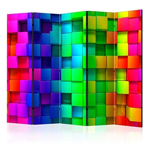 murando Raumteiler 3D Optik Foto Paravent 225x172 cm beidseitig auf Vlies-Leinwand Bedruckt Trennwand Spanische Wand Sichtschutz Raumtrenner blau gelb grün f-A-0350-z-c