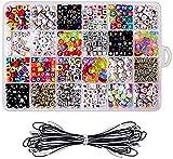 JIEERCUN 1200pcs Beads acrílicos Set Los Accesorios para Juguetes para niños Chica Color Color Cuentas a Juego niños Bricolaje Pulsera de joyería Joyas (Color : Multi-Colored)