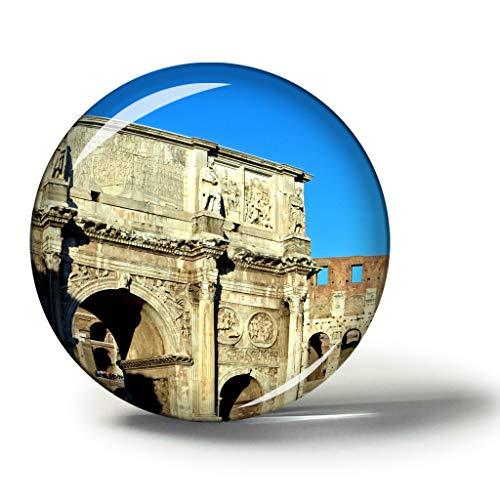 Hqiyaols Souvenir Italia Arco De Constantino Roma Imanes Nevera Refrigerador Imán Recuerdo Coleccionables Viaje Regalo Circulo Cristal 1.9 Inches