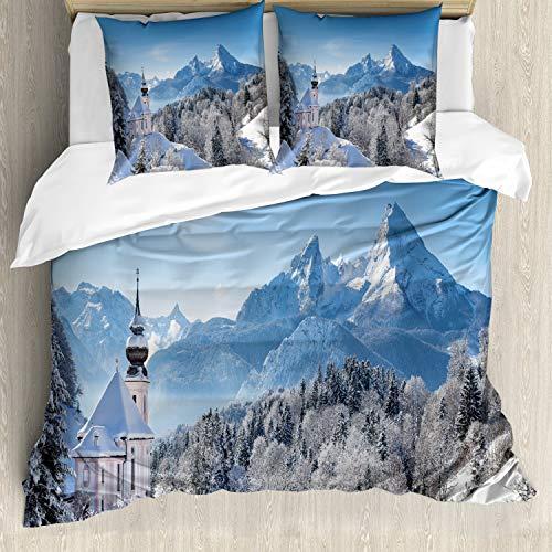 ABAKUHAUS Winter Dekbedovertrekset, Bavaran Alpen Duitsland, Decoratieve 3-delige Bedset met 2 Sierslopen, 155 cm x 220 cm, Blauw Wit