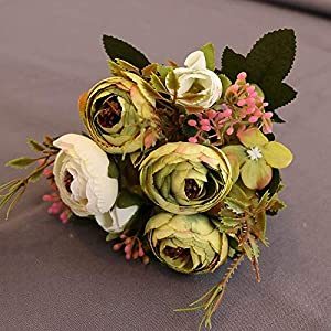 Silk Flower Arrangements Artificial and Dried Flower Artificial Flowers Silk Fake Tea Rose Floral Camellia for Wedding Party Home Decoration Bouquet