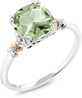 Gem Stone King 925 Sterling Silver and 10K Rose Gold Green Prasiolite Women's Ring (2.05 Ct Cushion Cut Available in size 5, 6, 7, 8, 9)