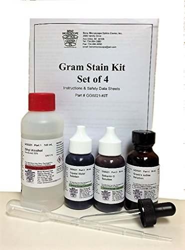 Benz Microscope Gram Stain Kit, Set of 4
