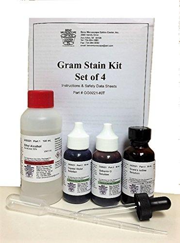 Benz Microscope Gram Stain Kit, Set of 4