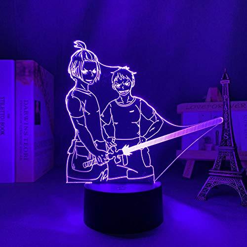 3D Illusion Lampa Mood Led Nattlampa Anime Fire Force för sovrumsdekoration Födelsedag för barn Manga Gadget Säng-med fjärrkontroll