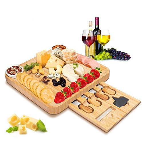Bamboo Cheese Board with Knife Set, Large & Thick Cheese platter Serving Tray, Charcuterie Meat Servers platter With Slide-Out Drawer for Wine, Crackers,Brie,Fruits,Bread & Perfect Choice for Gift