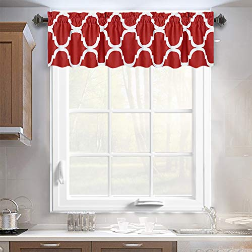 Melodieux Moroccan Rod Pocket Window Curtains Valance, 52 by 18 Inch, Red (1 Panel)