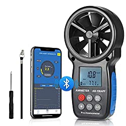 Bluetooth Digital Anemometer, Handheld Wind Speed Meter for Air Flow Velocity Wind Temperature Wind Chill Gauge Tester, with Phone Tablet APP