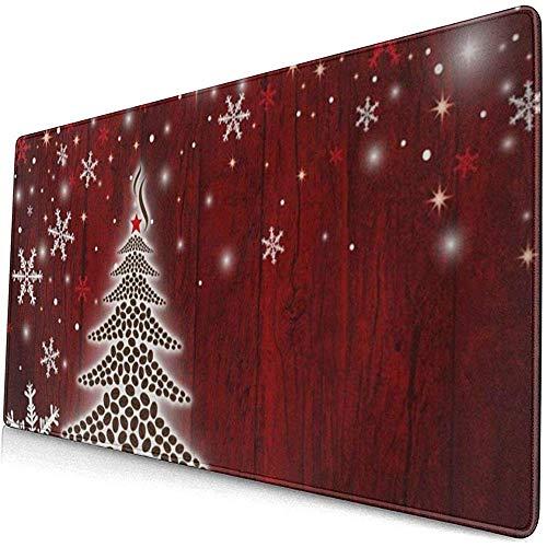 Gaming Extended Mouse Pads mit Rutschfester Gummibasis Winter Schneebedeckter Weihnachtsbaum und Schneeflocken 30X80 cm