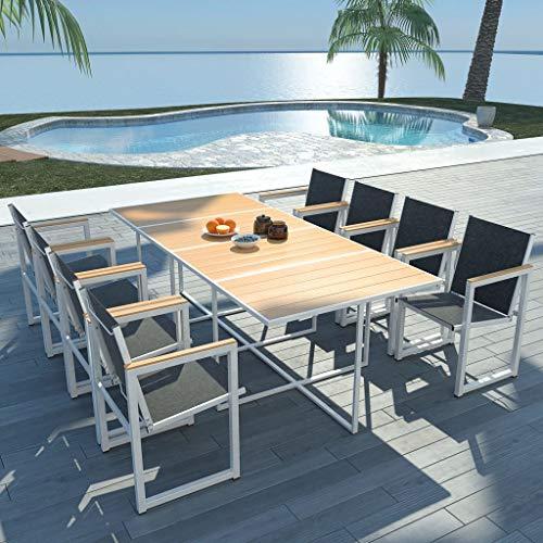 FAMIROSA Set Comedor de jardín 9 Piezas Aluminio y Superficie Mesa WPC (59,3kg)