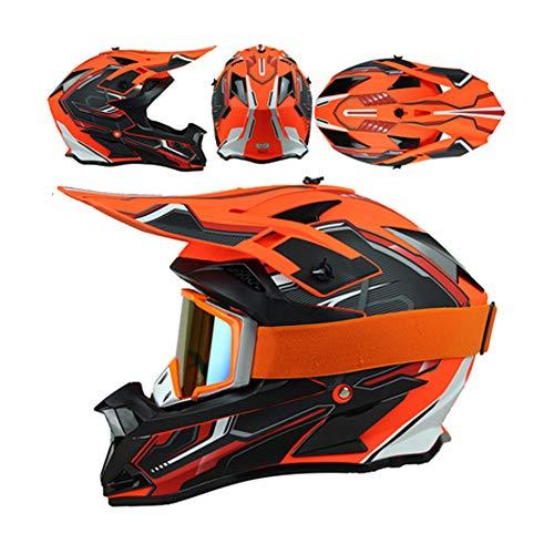 LEENP Motocross-Helm, Herren Crosshelm mit Schutzbrille, Motorrad Sports Off-Road-Helm ATV MTB Quad Motorräder Downhill Dirt Bike Enduro-Helm Motorradhelm für Männer Damen, Matte Orange,L