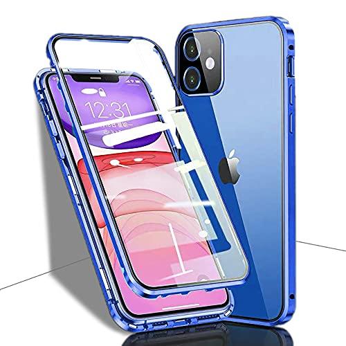 Carcasa para iPhone 12 5G, magnética, de cristal templado transparente, con cámara protectora y parachoques de metal, con cerradura, protección de 360 grados, para iPhone 12, color azul