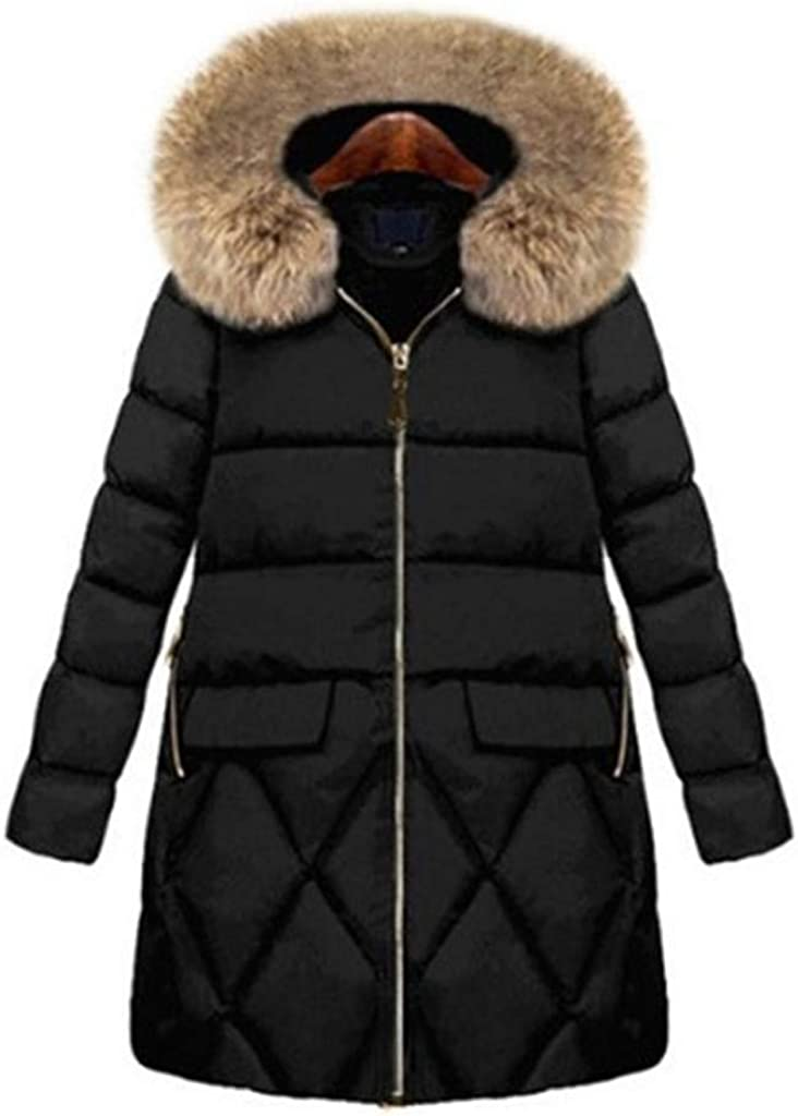 NRUTUP Winter Down Jacket Long Women, Quilted Full Length Faux Fur Hooded Padded Windproof Overcoat Zipper Casual Coat