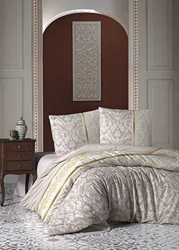 ZIRVEHOME Bettwäsche 155x220 cm. Baumwolle/Renforcé, Beige Farbe, Barock Muster, Reißverschluss, Model: Rocco V1