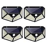 Msoah Luz Solar Exterior, [4-Paquete 100LED - 1600 Lumens] IPosible 120 °Iluminación De Cuatro Lados Foco Solar con Sensor De Movimiento Impermeable Lámpara Solar 3 Modos para Jardín