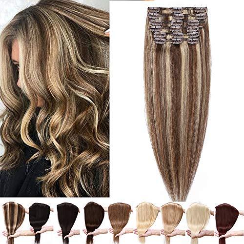 Silk-co Extension Clip Capelli Veri 50cm #4P27 Marrone Medio & Biondo Scuro Clip Extension Capelli Lisci Naturali 8 Pezzi 80g Remy Hair