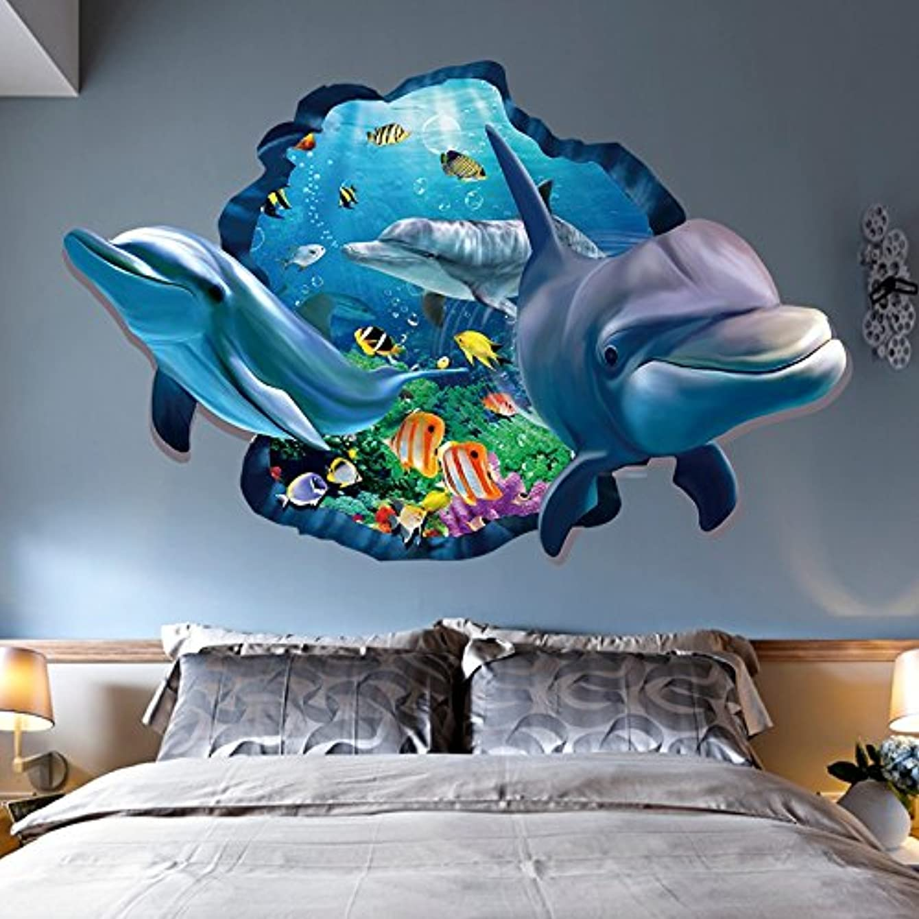 Aibote 3D Wall Decal Dolphin Mural Home Window Ceiling Decor Removable Stickers Decorations Wallpaper for Boys Girls Room Kids Bedroom Floor Walls Living Room(60x90CM)