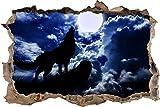 Pixxprint 3D_WD_S2770_92x62 Wolf heult den Mond an Wanddurchbruch 3D Wandtattoo, Vinyl, bunt, 92 x 62 x 0,02 cm