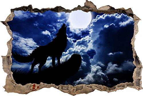 Pixxprint 3D_WD_S2770_62x42 Wolf heult den Mond an Wanddurchbruch 3D Wandtattoo, Vinyl, bunt, 62 x 42 x 0,02 cm
