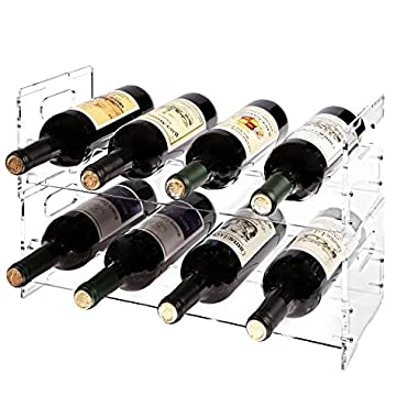 MyGift Modern Clear Acrylic Freestanding Stackable 8 Bottle Organizer Display Wine Rack (2 Piece Set)