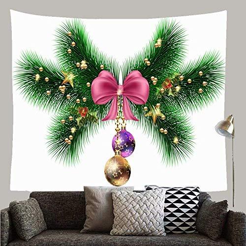 N\A Bola Verde Ramas de árboles de Navidad Guirnaldas Conos Vacaciones Borde Rojo Rama Celebración Diciembre Colgante de Pared Tapiz Manta Decoración para Dormitorio Dormitorio Sala de Estar