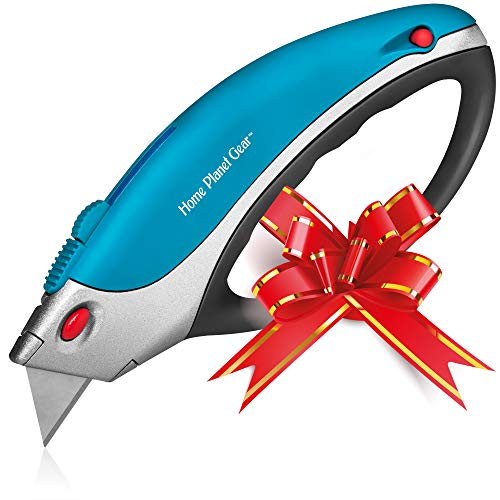 Box Cutter Utility Knife - Retractable - Multi-Position Blade, Locking - 5 Sharp Blades with Storage in Non-Slip Handle Ergonomic, Easy Comfort Grip Design Great for Weak Hands!
