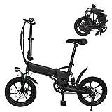 Plegable Eléctrico De La Bicicleta, Moto Interurbana De 16 Pulgadas Ajustable Velocidad E-Bici, A 30 Km Rango, 36V Batería Recargable 250W / Litio, Adulto Unisex Bicicleta Eléctrica,36V 5.2Ah