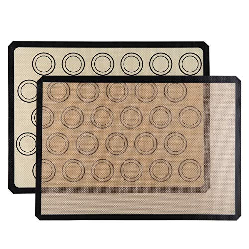 Silicone Baking Mats – Pack of 2, BPA free, Non-Stick, Food Safe Baking Mat for Making Cookies, Macaron, Bread and Pastry