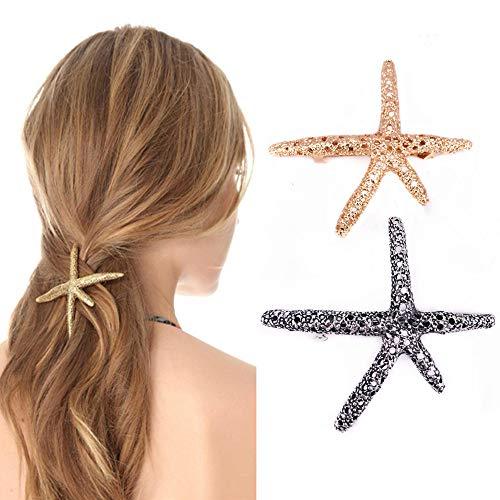 QTMY 2 PCS Metal Starfish Hairpin Hair Clips Hair Accessories