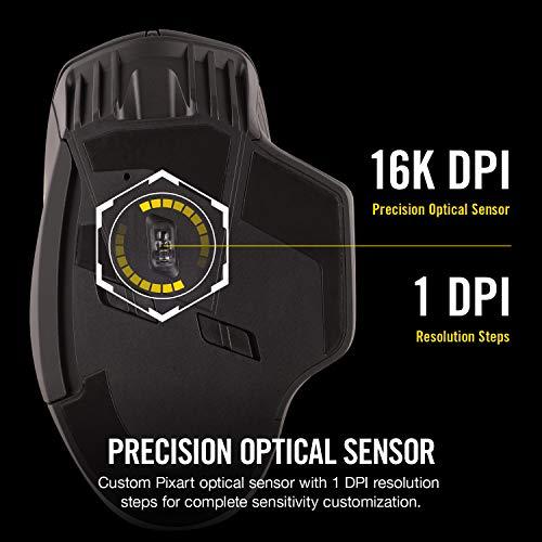 CORSAIR Dark Core Wireless Gaming Mouse DPI Optical Sensor Comfortable & Ergonomic Play Wired or Wireless Earplugs 5 cm Black