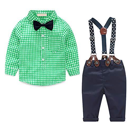 Yilaku Kinder Anzug Jungen Bekleidungssets Langarm Hemd + Hose mit Hosenträger + Fliege Krawatte Gentleman Taufe Hochzeit für Sommer