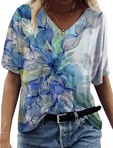 Nueva Camiseta De Verano para Mujer, Camiseta con Estampado De Paisley En 3D, Camiseta Informal De Manga Corta con Cuello En V, Camiseta Suelta con Pintura Abstracta, Camiseta Superior