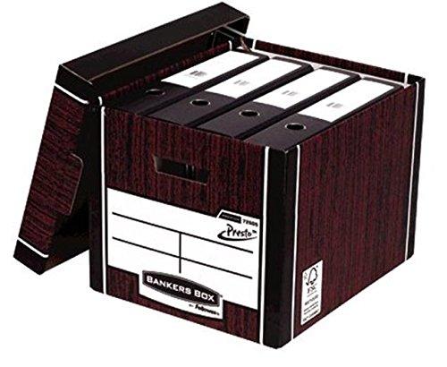 Fellowes Bankers Box Premium PRESTO hoge stapelbare opbergdoos (houtnerf) met Lift off deksel (Pack van 10)