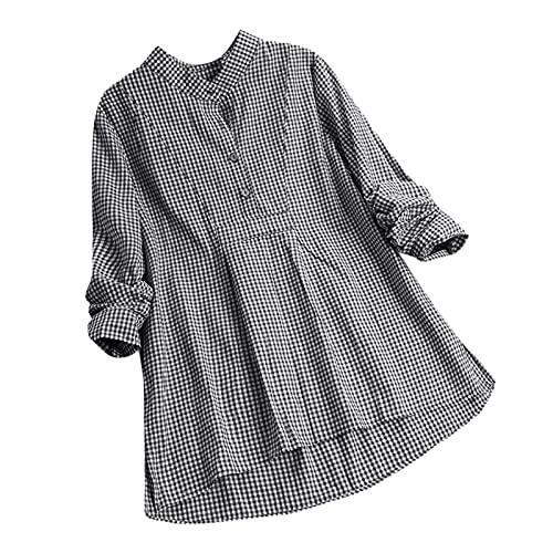 Dames herfst en winter tops dames lange mouwen print button omslagkraag overhemden blouses tops, T-shirts voor dames, herfst en winter blouse, zwart, XXL