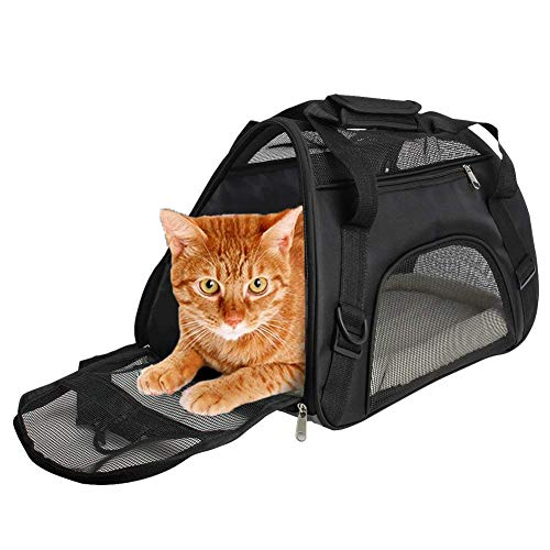 CUBY Transportín Gato Perro, bolsa de transporte para mascotas portátil y transpirable,...