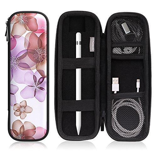 MoKo Holder Case Fit Apple Pencil/Apple Pencil 2, PU Leather Case for Samsung Stylus Pen Surface Pen, Fit New iPad 10.2 2019/iPad Air (3rd Gen) 10.5'/iPad Pro 11 & 12.9 2020 Pencil - Floral Purple