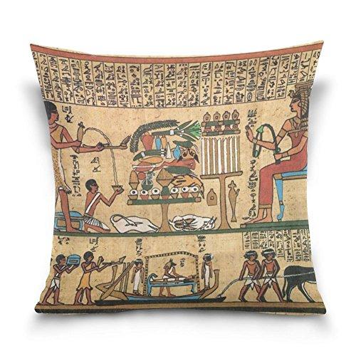 suabo Ägyptische Wandmalerei Print Muster Baumwolle Samt dekorativer Überwurf-Kissenbezug 50,8x 50,8cm, 50 % Baumwolle, 50 % Polyester, design 3, 45,7 x 45,7 cm