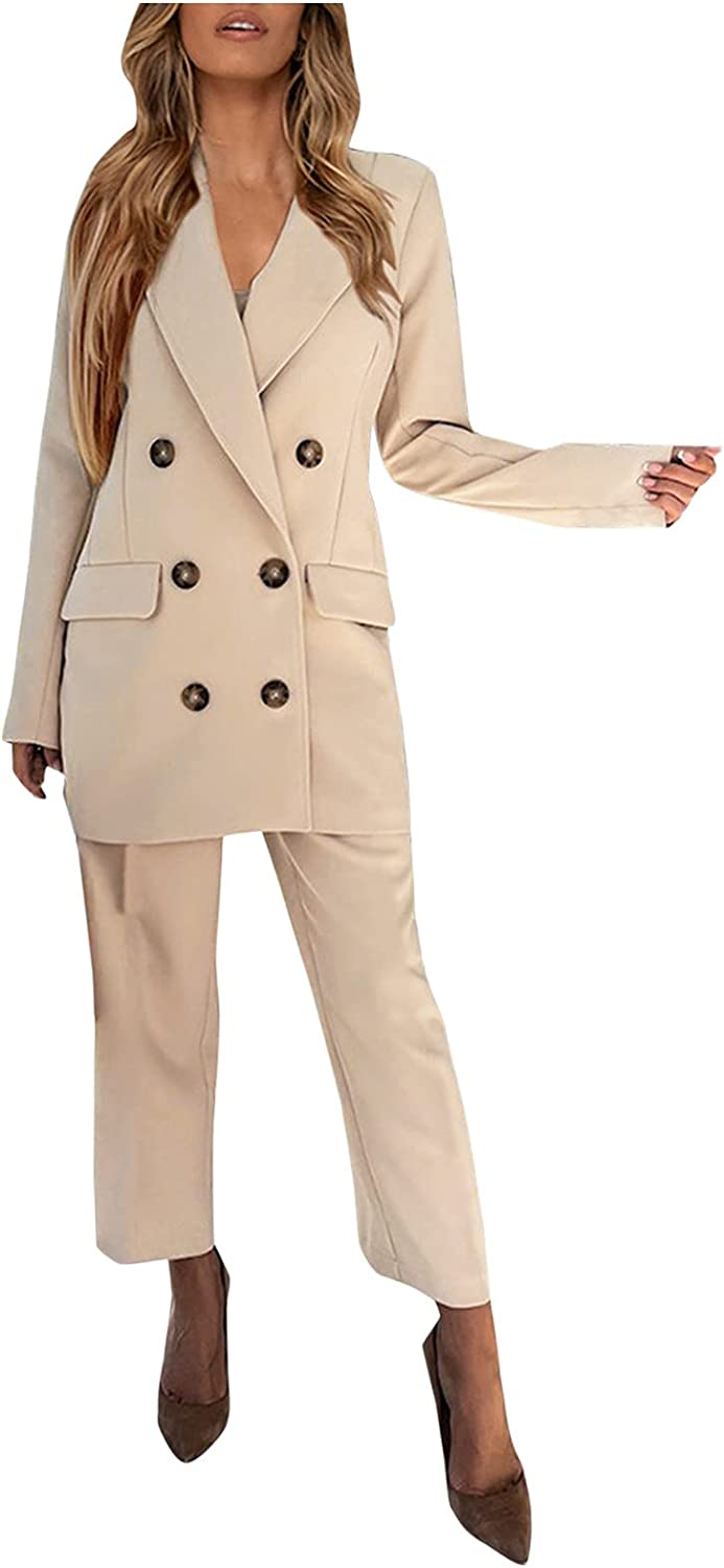 Xinantime Women's Suit Two-Piece Double-Breasted Notched Collar Oversized Blazer and Wide Leg Pants Set Casual Outfit