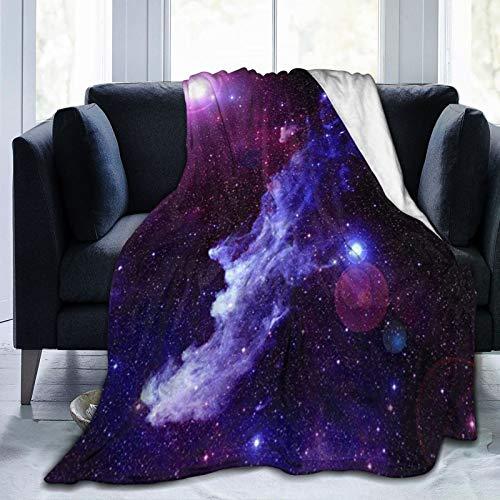 Manta de galaxias moradas para decoración del hogar, suave, transpirable, cómoda manta térmica para todas las estaciones, ideal para cama, sofá