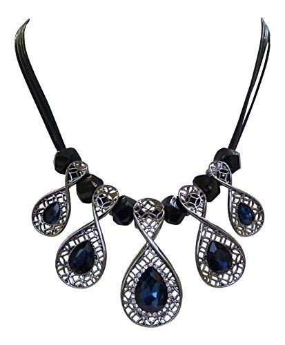 Trachtenschmuck Dirndl Kristall Collier - Modernes Design - Halskette Hematite/Schwarz (Montana Blau)