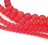 NEU Crystal Glasperlen Rot Set 4 Stränge 4mm 6mm 8mm 10mm Schmuck Perlen Rund Bastel-Set Schmuckzubehör Perlenschmuck Bastelperlen Perlenstrang R360