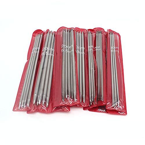 TOP-MAX Stricknadeln, 55 Stück, 2–6,5 mm, gerade, doppelspitz, Edelstahl, Stricknadel, langlebig, leicht