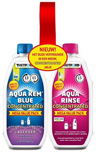 Thetford 30459CO Toilet Fluid and Rinse Concentrate Duo Pack, Blue & Pink, 1.53 Litre