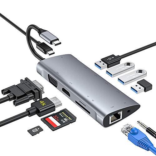 USB C Hub,11 in 1 adattatore tipo C 4K HDMI,1080P VGA,3 USB 3.0, 1 USB 2.0,USB C PD Porta, RJ45 Gigabit Ethernet, lettore dischede SD/TF, Jack audio da 3,5 mm per Macbook altri dispositivi di tipo C